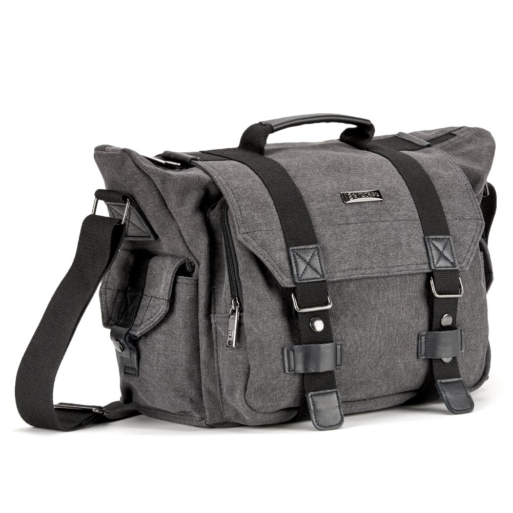 Evecase Large Canvas Messenger Camera and Laptop Bag
