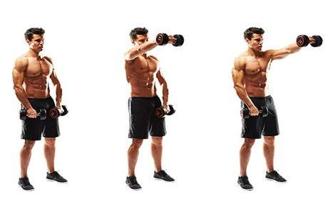 handsome fit man doing front dumbbell raise shoulders exercise