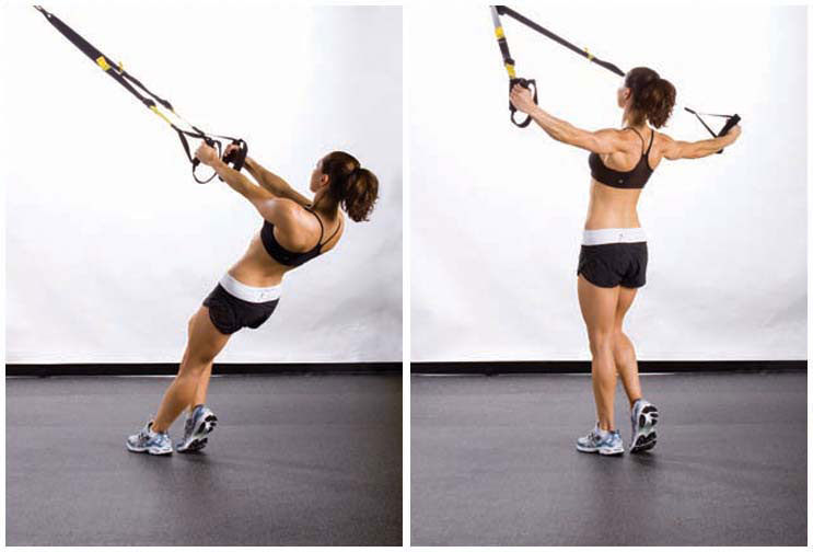 woman doing TRX fly exercise