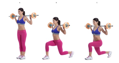 barbell reverse lunges
