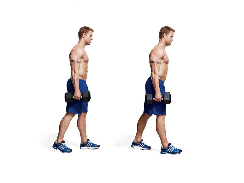 Dumbbell walk exercise for forearms