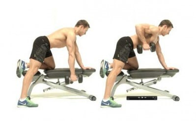 Single-Arm dumbbell row back exercise