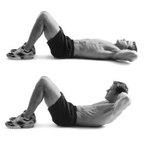 man doing crunches for six pack abs