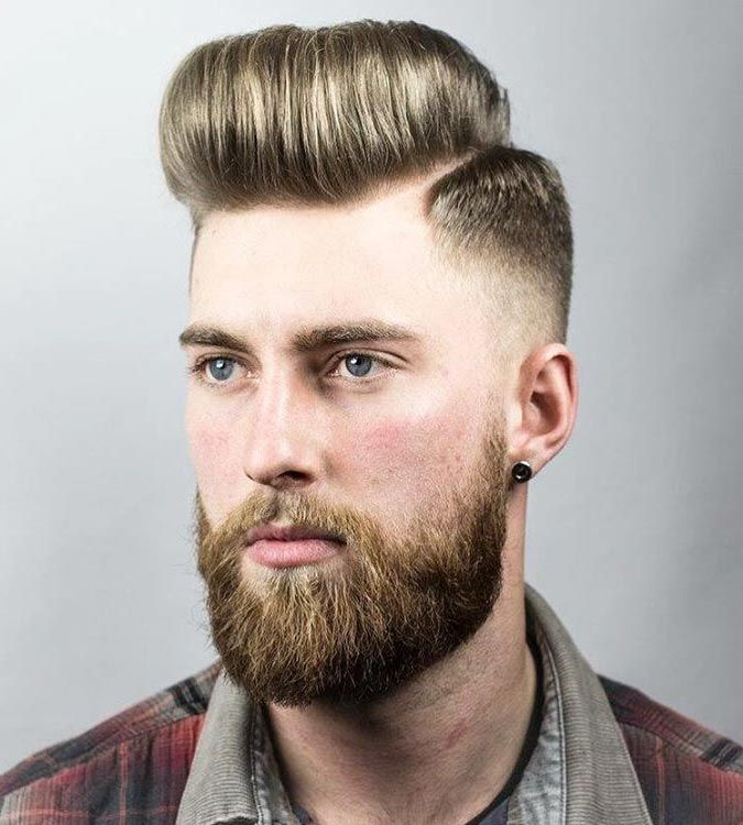 Hard Part Pompadour with Skin Fade Hairstyle Man