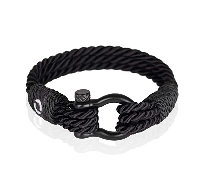 Durable Twisted Rope Mens Bracelet with Shackle