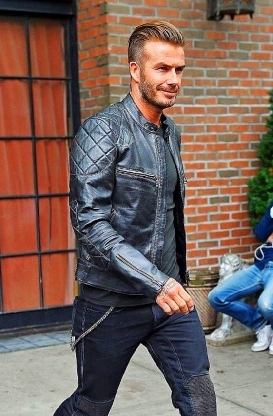 David Beckham leather jacket and ripped stylish jeans