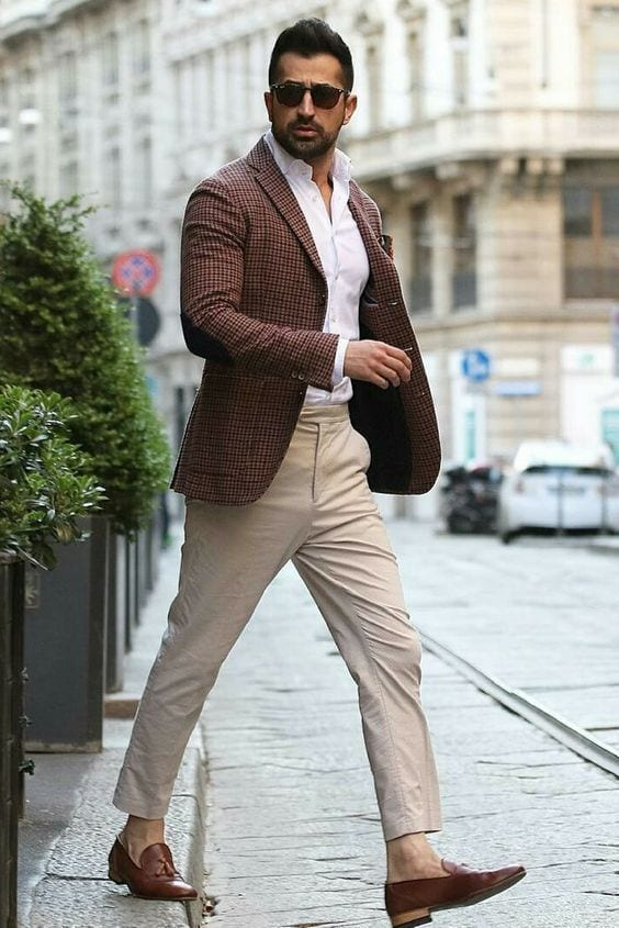 Handsome man wearing Brown Mocasines with chinos