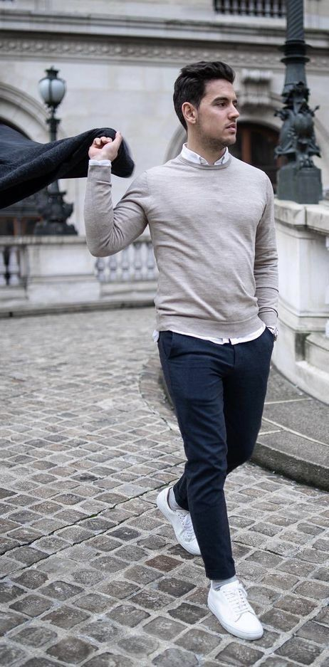 blue chinos white sneakers man handsome walking path
