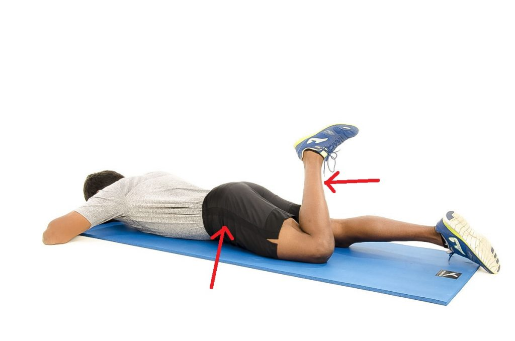 prone knee flexion exercise for strength in knee