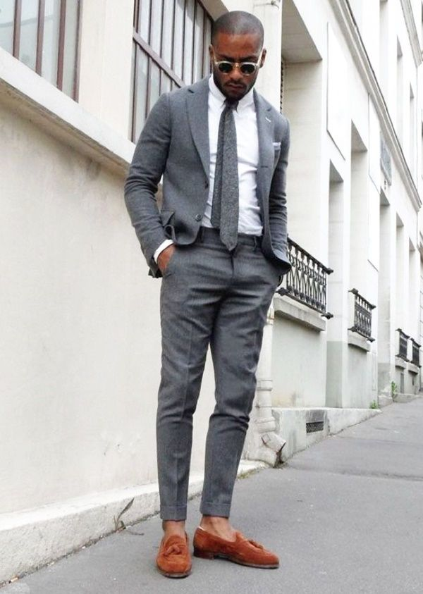 smart man outfit brown loafers with grey chinos