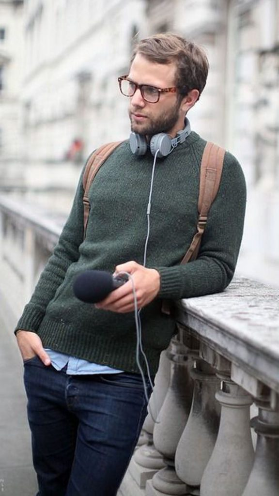 Cable Knit Crew Neck fashion winter man standing headphones