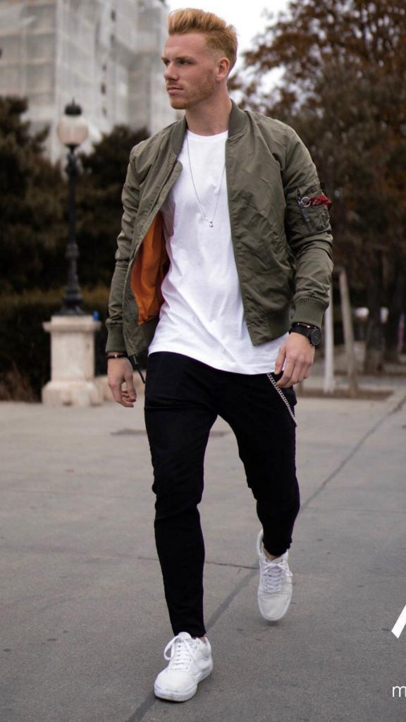 handsome men walking bomber jacket style