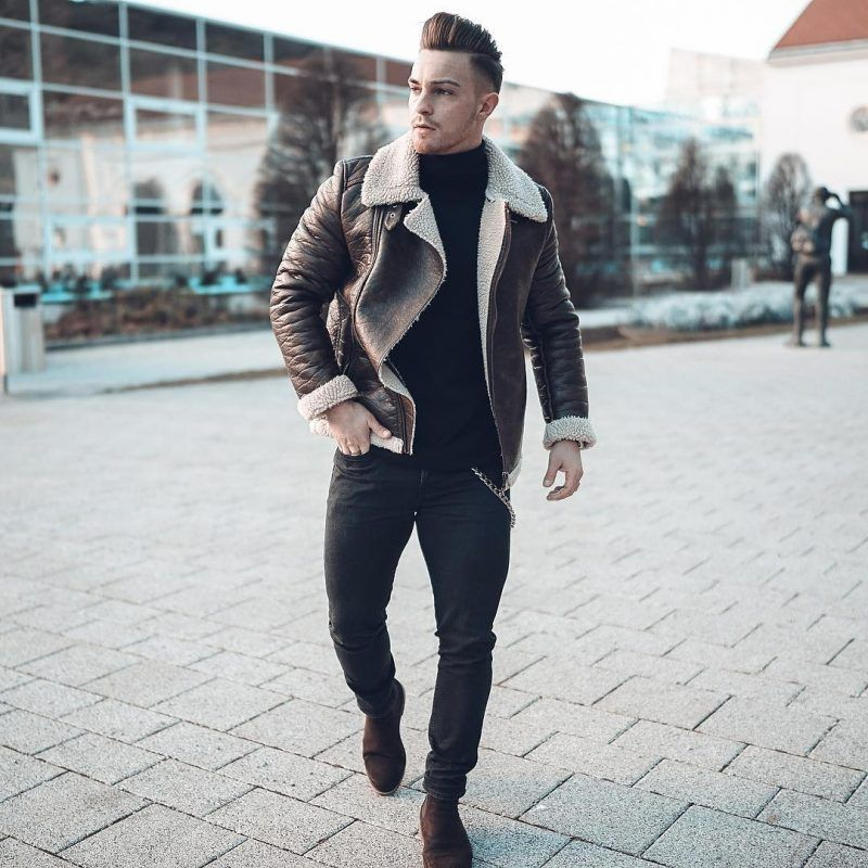 mens winter fashion shearling coat trends fash