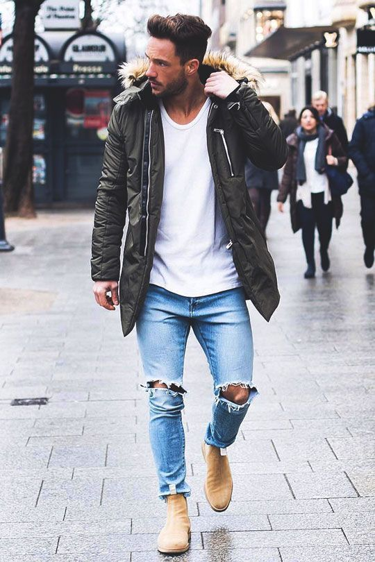 parka coat outfit men walking leather shoes