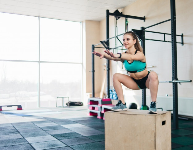 squat jump aerobic workout