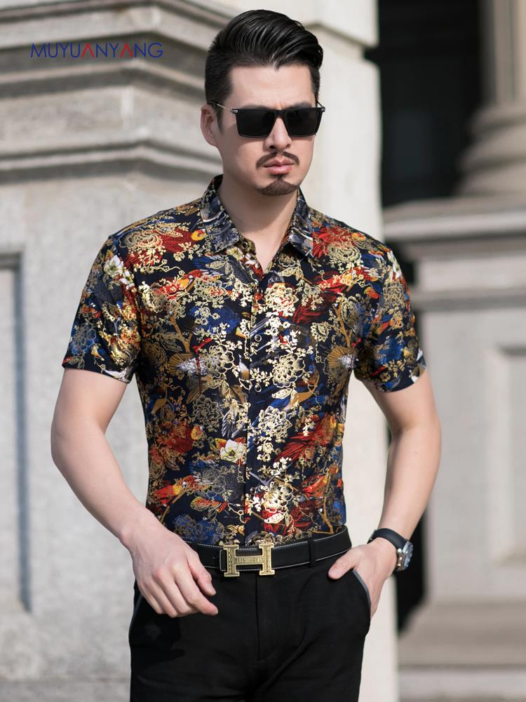 Mesh shirt with embroidered print party outfit men