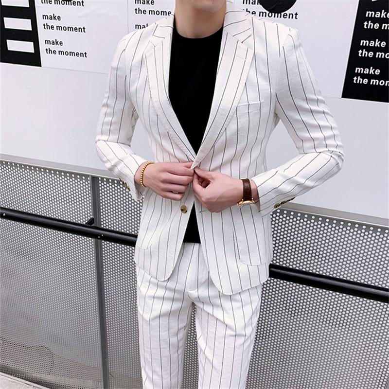 Striped design blazer jacket wedding attire men