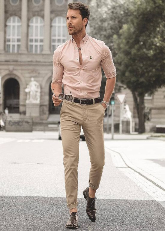 good looking man walking chino oxford shirt party outfit