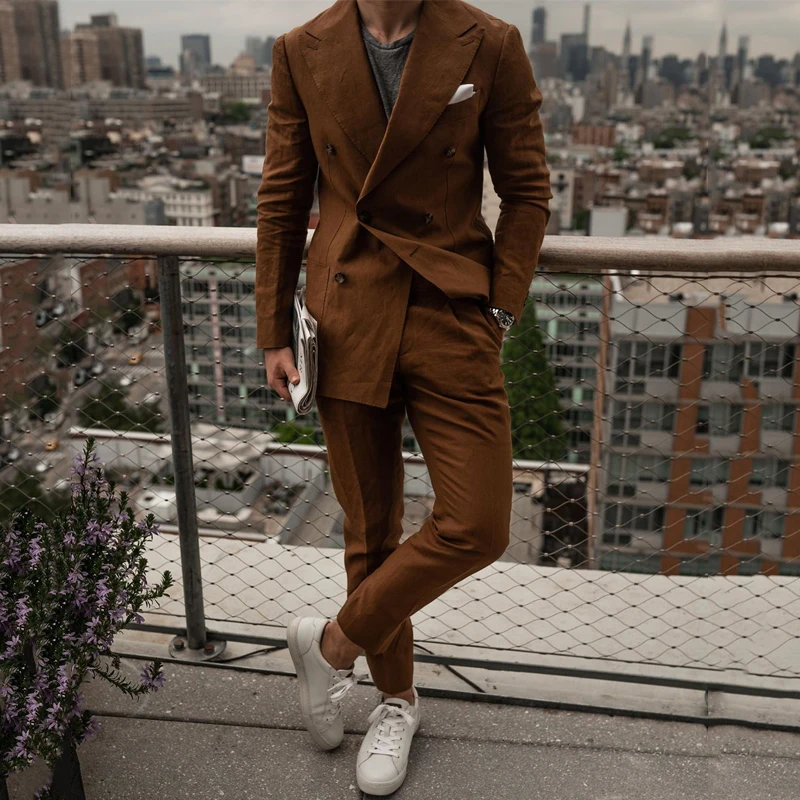latest double breasted blazer for men brown styles