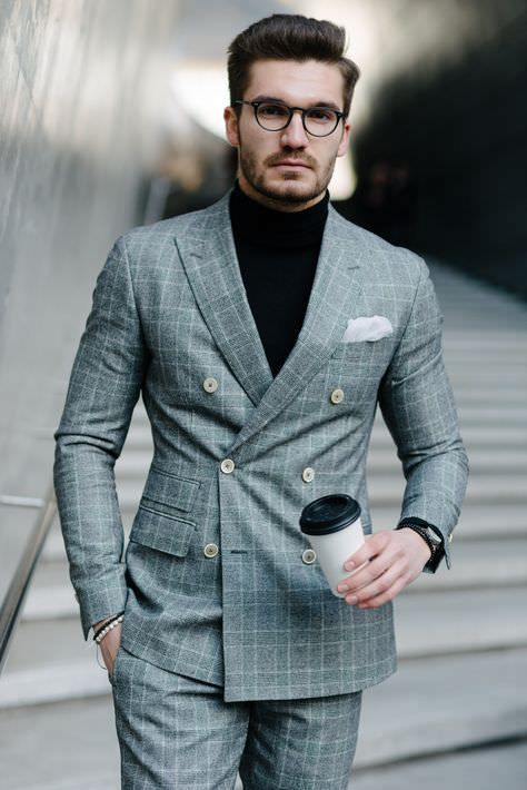 mens new modern double breasted blazer